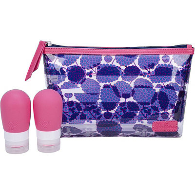 Pattern Dhalia Top Zip Clutch With Bottles