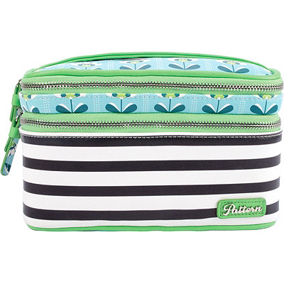 Pattern Petal Stripes Double Zip Train Case