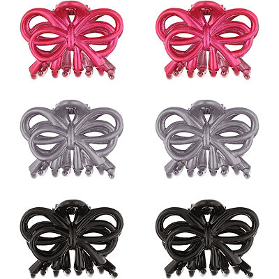 Capelli New York Bow Style Claw Clips Bright Pink