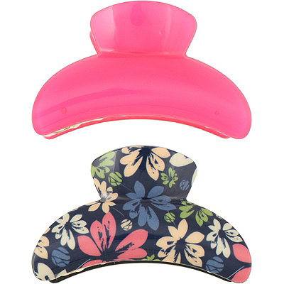 Capelli New YorkFloral And Solid Fuchsia Claw Clips