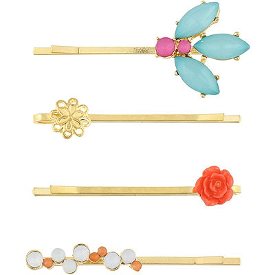 Capelli New YorkFloral And Gem Bobby Pins
