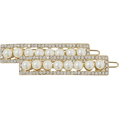 Elle Pearl And Rhinestone Barrettes 2 pk