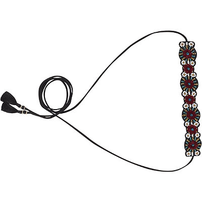 Scünci Combination Suede and Beaded Flower Choker Head Wrap