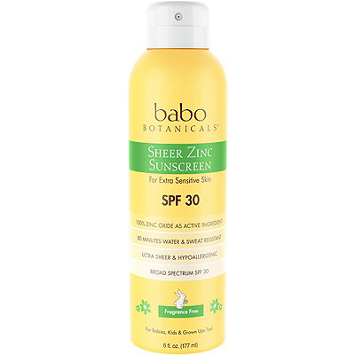 Babo Botanicals Sheer Non-Nano Zinc Continous Spray SPF 30 Fragrance Free Mineral Sunscreen