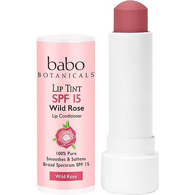 Babo Botanicals Sheer Lip Tint Conditioner SPF 15 Wild Rose Mineral Sunscreen Lip Balm