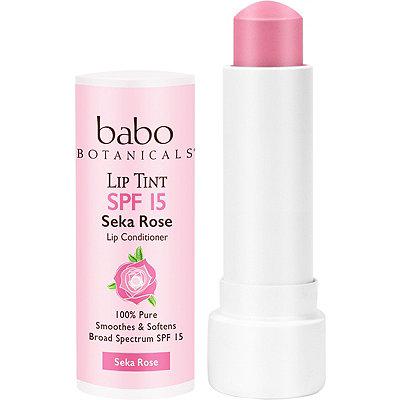 Babo BotanicalsOnline Only Sheer Lip Tint Conditioner SPF 15 Seka Rose Mineral Sunscreen Lip Balm