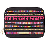 Pom Pom Double Zip Clutch