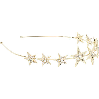Scünci Gold Metal Star Head Band w%2F Rhinestones