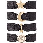 Black Star Charm Hair Ties