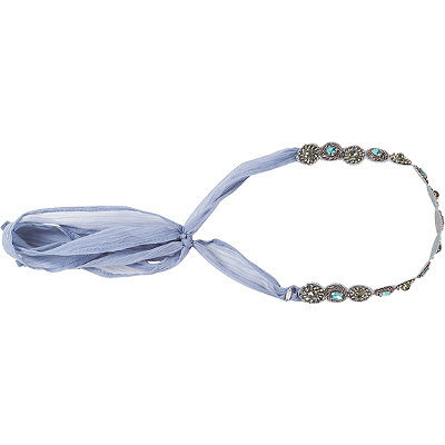 Pink PewterLight Blue %2F Grey Ribbon %26 Stone Style Head Wrap
