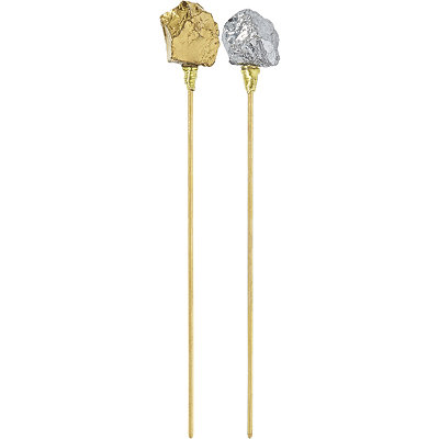 Pink Pewter Gold Hair Sticks w%2F Gold %26 Silver Rocks