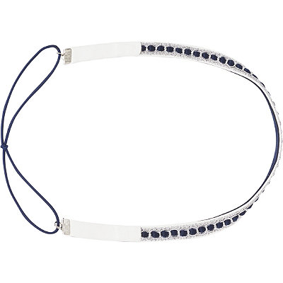 ScünciHeadbands of Hope White Headwrap with Navy Stones