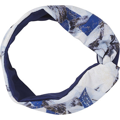 ScünciHeadbands of Hope Multi Blue Colored Headwrap with Silver