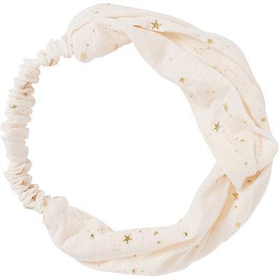 Ivory Front Metallic Star Twist Headwrap