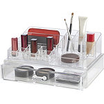 Drawer Cosmetic Organizer with Stackable 9 Compartment Tray