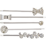 Silver with Bows Mixed Bobby 5 Piece Pin Set