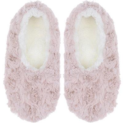 Capelli New YorkPink Faux Fur Slipper Socks with Grippers