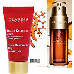FREE deluxe Bundle Super Restorative Day Cream and Double Serum w%2Fany Clarins purchase
