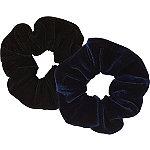 Black And Navy Velvet Scrunchies