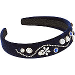 Navy Velvet Headband With Diamonds%2FPearls
