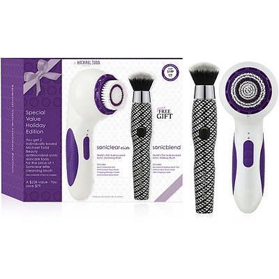Michael Todd Beauty Limited Edition Holiday Gift Set%3A Soniclear Elite Pearl White and Sonicblend Carbon Fiber