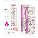 Incoco Nail Polish Appliqués - Nail Art Designs New Leaf (blooms on shimmery white)