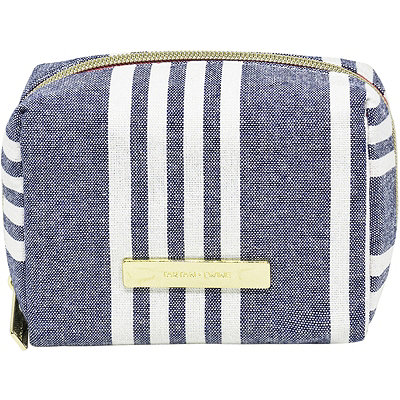 Tartan + TwineChambray Travel Bag Makeup Cube Navy Blue Stripe