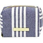 Chambray Travel Bag Makeup Cube Navy Blue Stripe