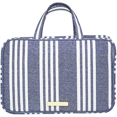 Chambray Travel Makeup Weekender Navy Blue Stripe