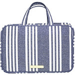 Tartan + Twine Chambray Travel Makeup Weekender Navy Blue Stripe
