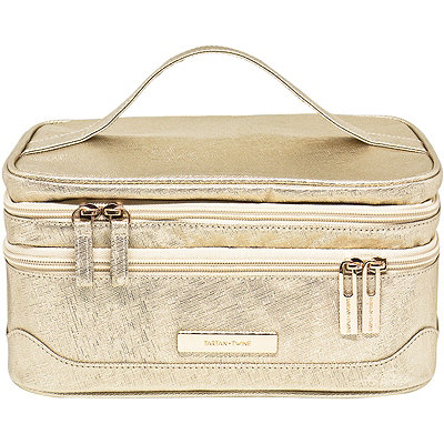 Rose Gold Saffiano Travel Makeup Double Zip Train Case