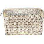 Rose Gold Lace Mesh Travel Makeup Bag Large Clutch
