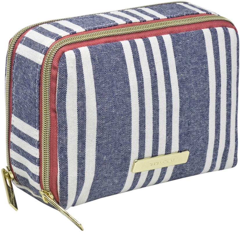Chambray Travel Double Zip Makeup Organizer Navy Stripe by Tartan + Twine