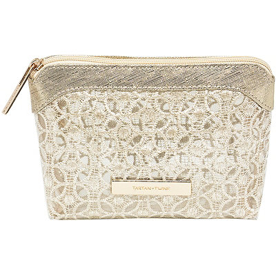 Rose Gold Lace Mesh Small Travel Clutch Makeup Bag