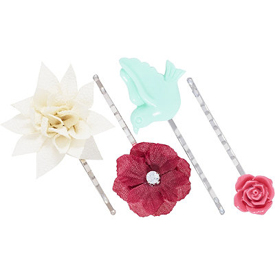 Sparrow and Flowers Bobby Pins