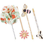 Bee and Flowers Bobby Pins