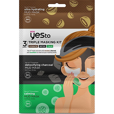 Triple Masking Kit with Coconut, Charcoal, and Cucumbers