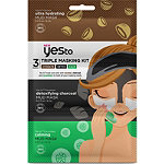 Yes to Triple Masking Kit with Coconut, Charcoal, and Cucumbers