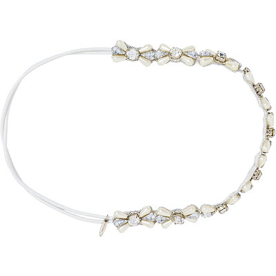 Beaded Silver and Pearl Elastic Stretch Headwrap