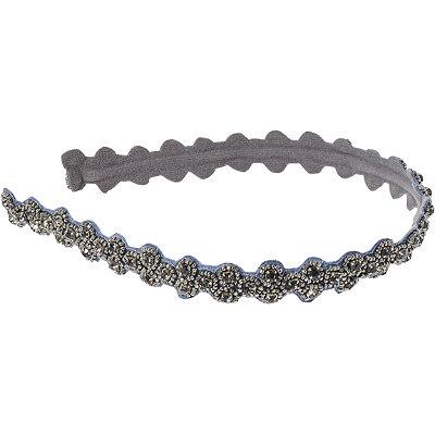 Beaded Gunmetal and Slate Stone Hardband Headwrap