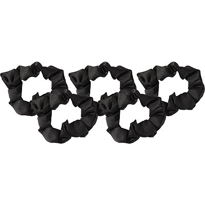 Black Satin Sleep Scrunchie 5 Pc