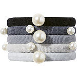 Black and Gray Pearl Hair Ties 5 Count