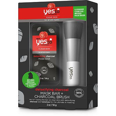 Yes toTomatoes Detoxifying Charcoal Mask Bar + Charcoal Brush Set