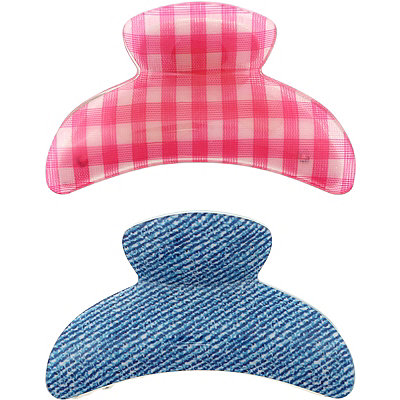 Gingham and Denim Pattern Claw Clips