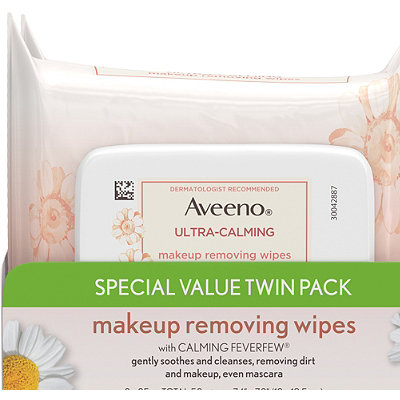 AveenoUltra-Calming Makeup Removing Wipes Twin Pack