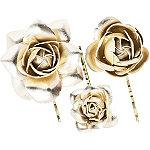 Gold Rose Bobby Pins