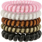 Pearlized Phone Cord Pony Holders 5 Pc