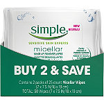 Simple Micellar Make-Up Remover Wipes Twin Pack