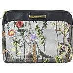 Perennial Blooms Large Purse Kit Makeup Bag with Embroidered Flowers