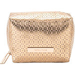 Golden Shimmer Travel Makeup Cube Organizer Bag in Perforated PVC